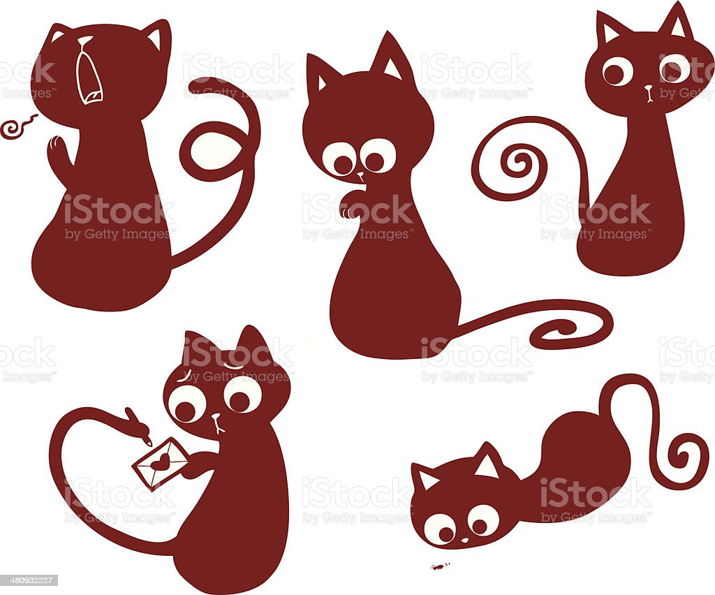 Red Cats set royalty-free stock vector art