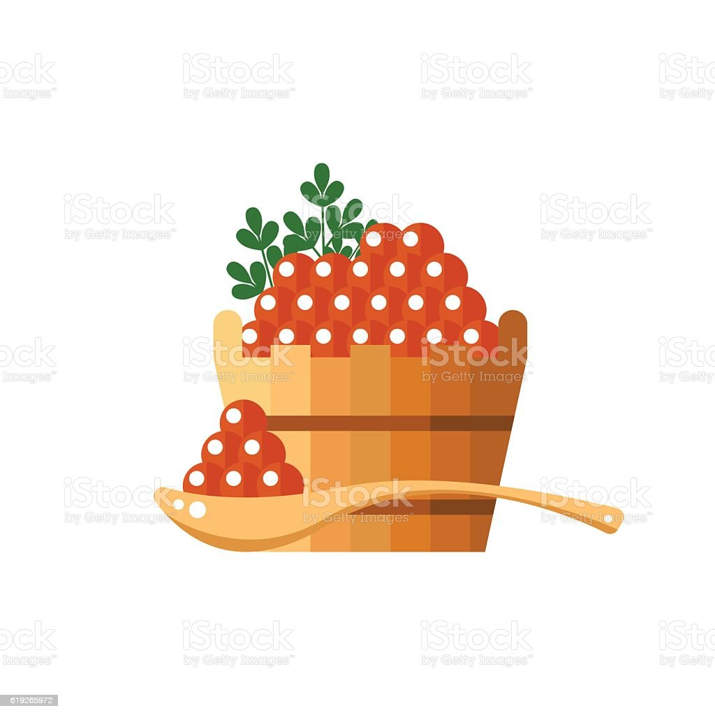 Red caviar in a wooden barrel and spoon. Roe icon vector art illustration