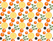 Red caviar seamless pattern. Roe endless background, texture, wallpaper. Vector