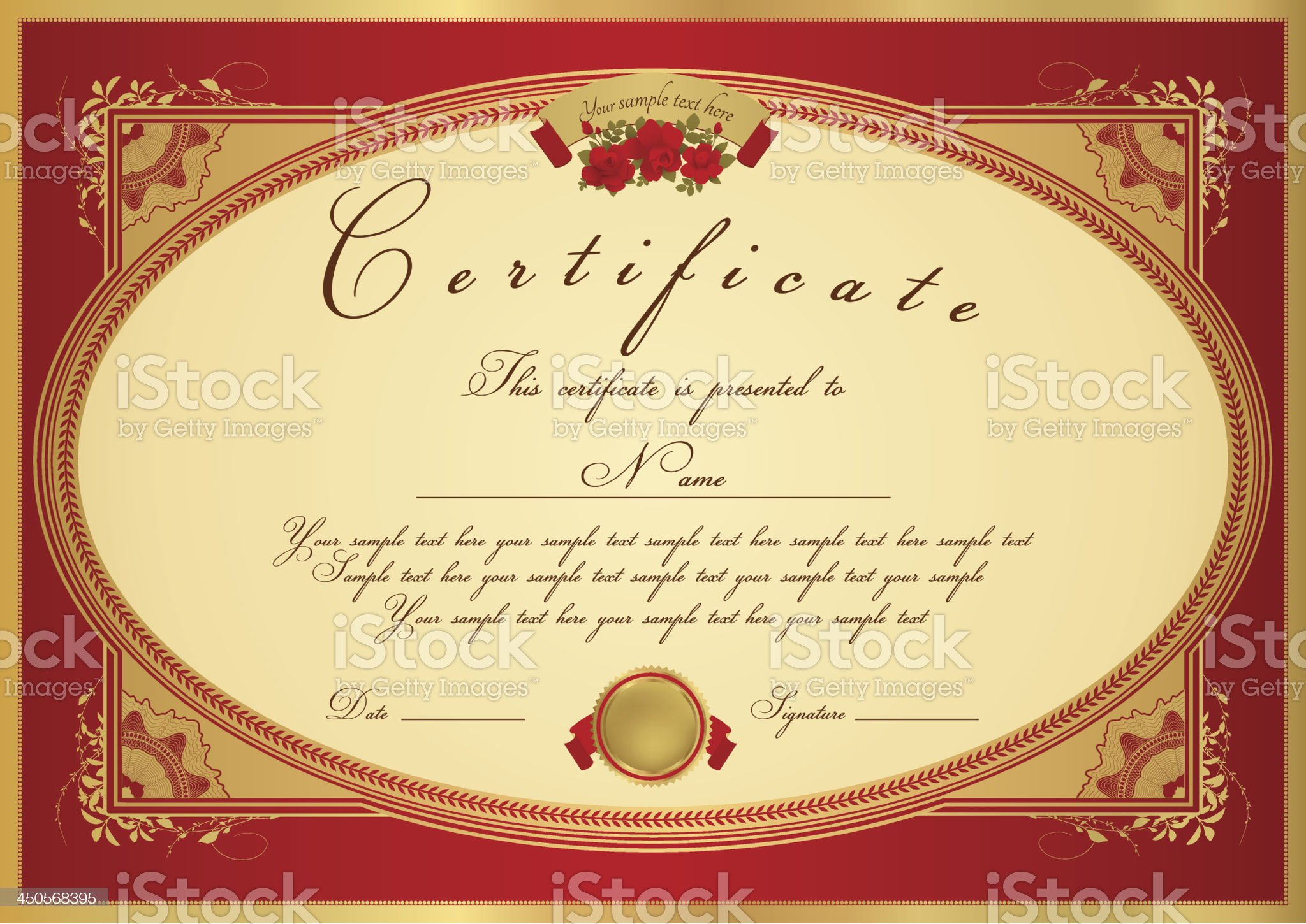 Red Certificate / Diploma / Coupon (template). Award background (flower, Floral border) royalty-free stock vector art