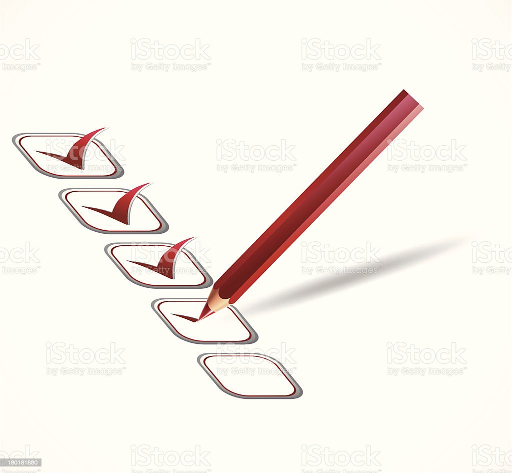 Red check list. Vector royalty-free stock vector art