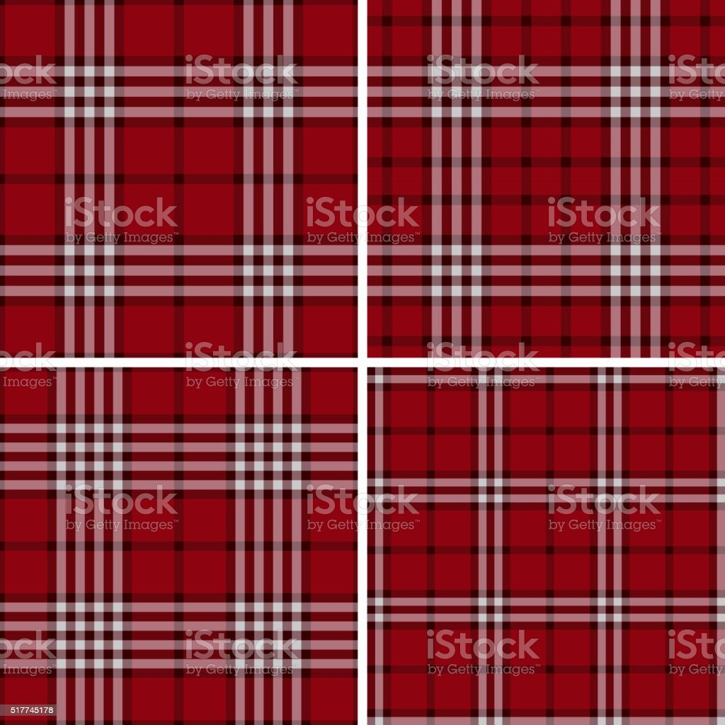 Red Check Plaid Patterns vector art illustration