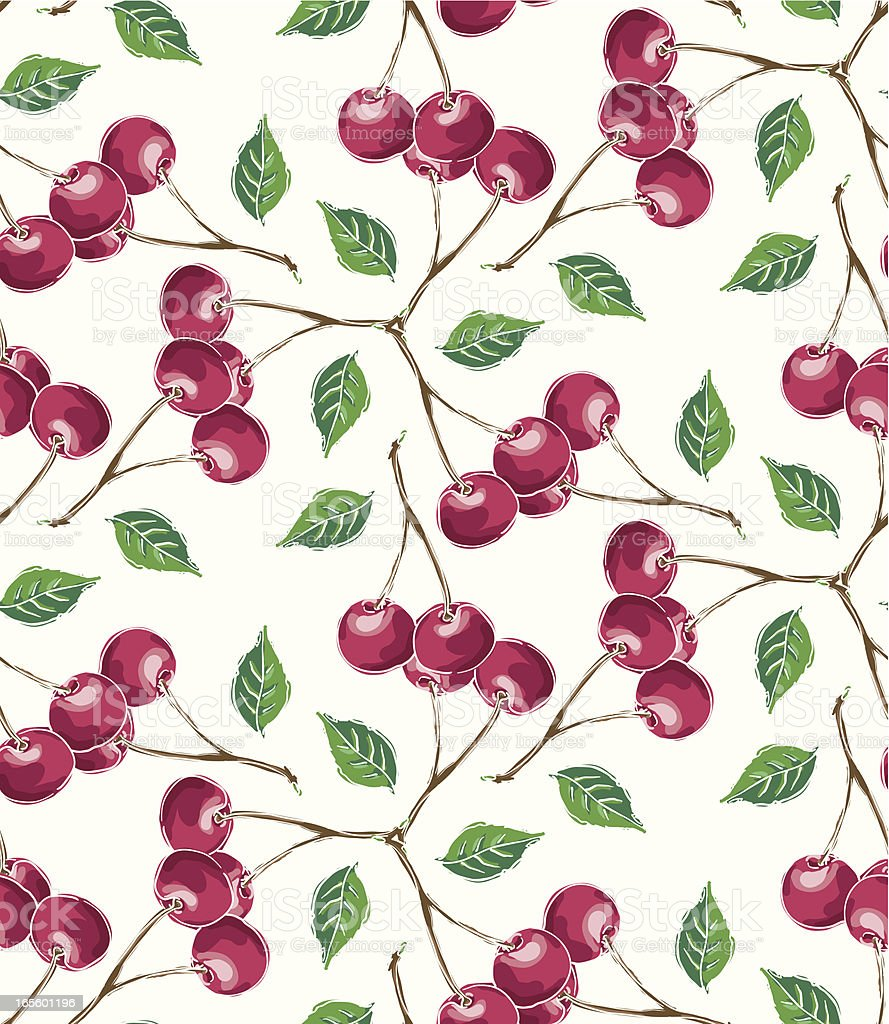 Red Cherry Swirls- Seamless Pattern royalty-free stock vector art