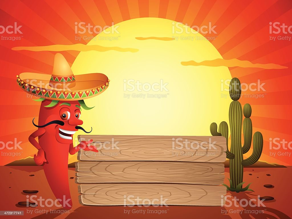 Red Chili Pepper in the Mexican Desert royalty-free stock vector art