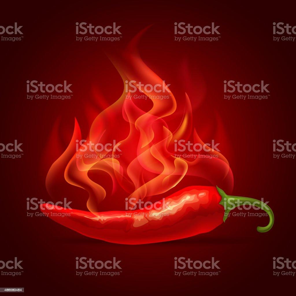 Red chili pepper vector art illustration