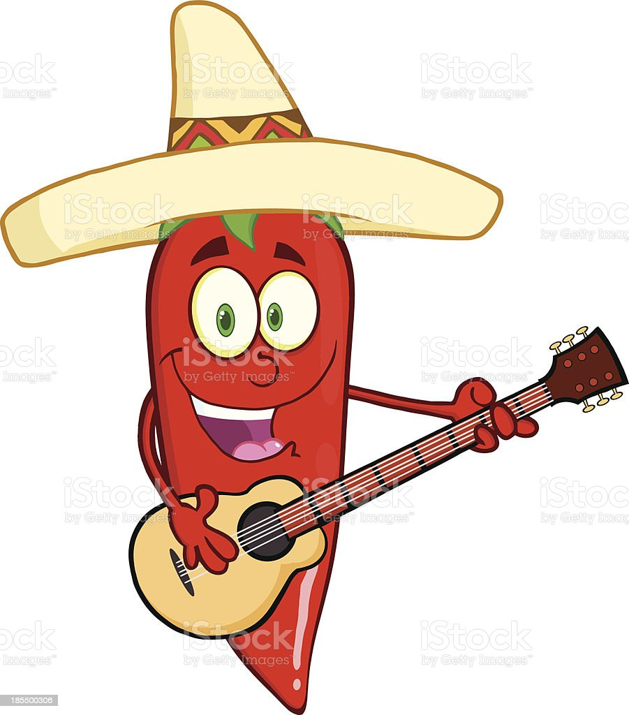 Red Chili Pepper With Mexican Hat Playing A Guitar royalty-free stock vector art