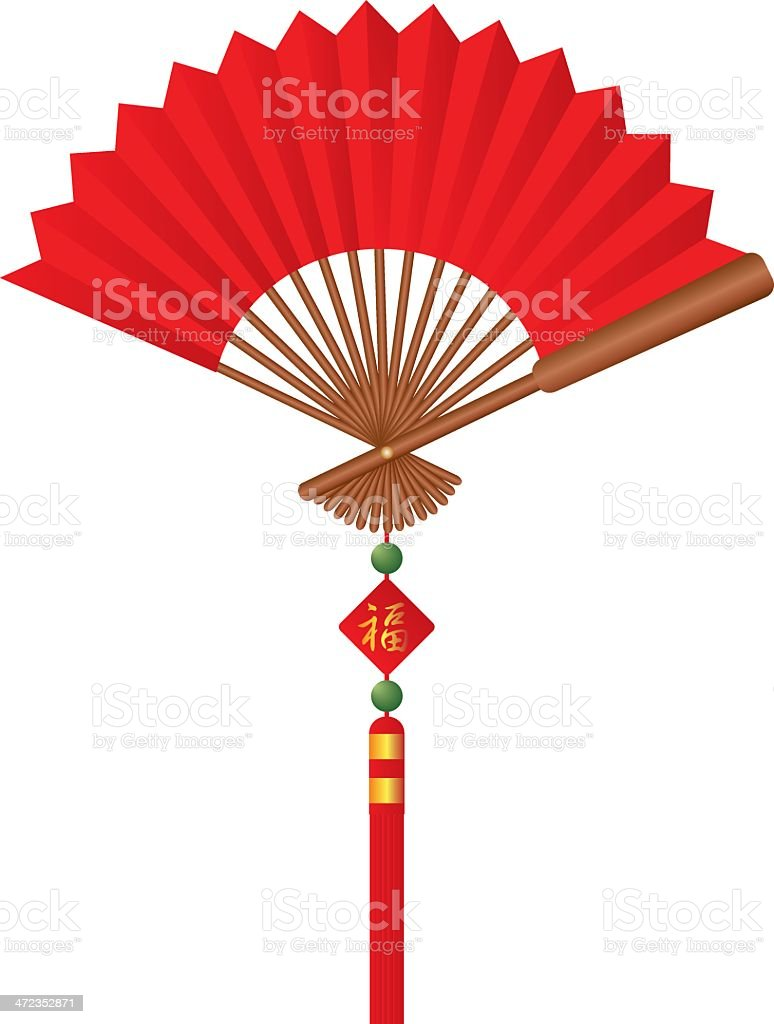 Red Chinese Silk Fan with Tassel Jade Beads Good Fortune vector art illustration