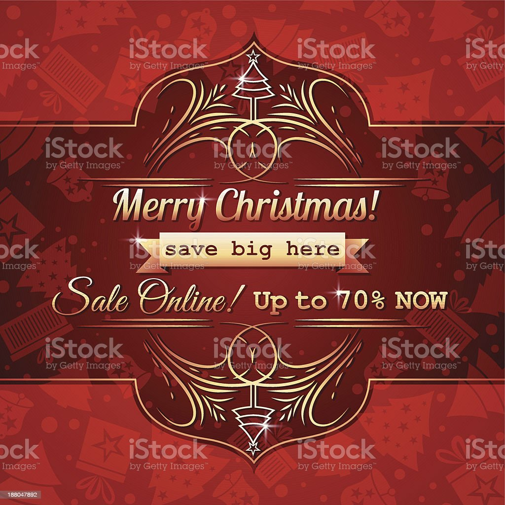 red christmas background and label with sale offer royalty-free stock vector art