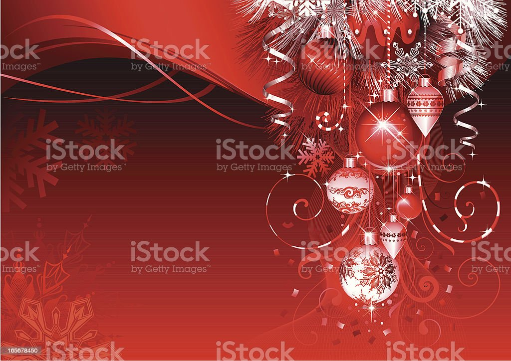Red Christmas background with ornaments draping down royalty-free stock vector art