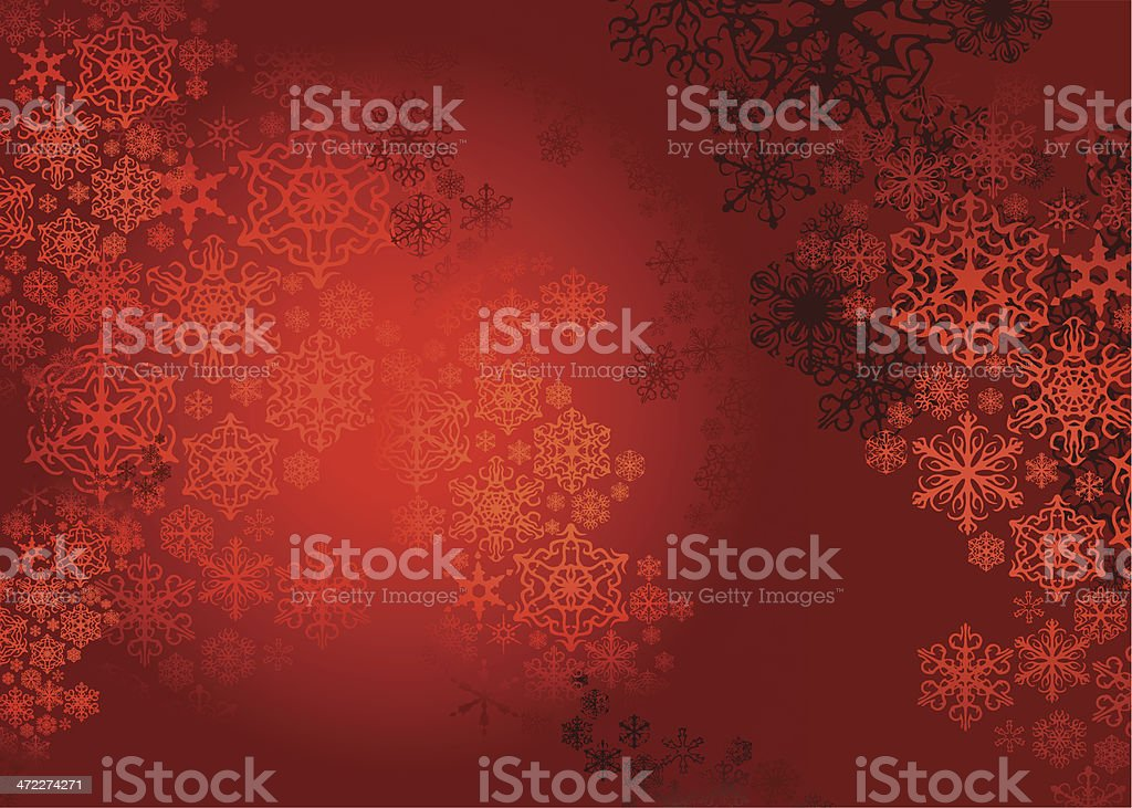 A red Christmas background with shiny snowflakes designs royalty-free stock vector art