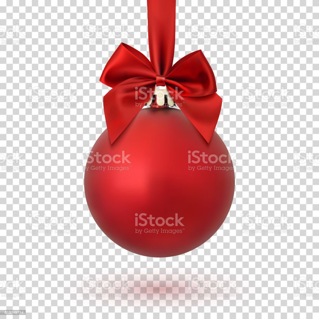 Red Christmas ball on transparent background. vector art illustration