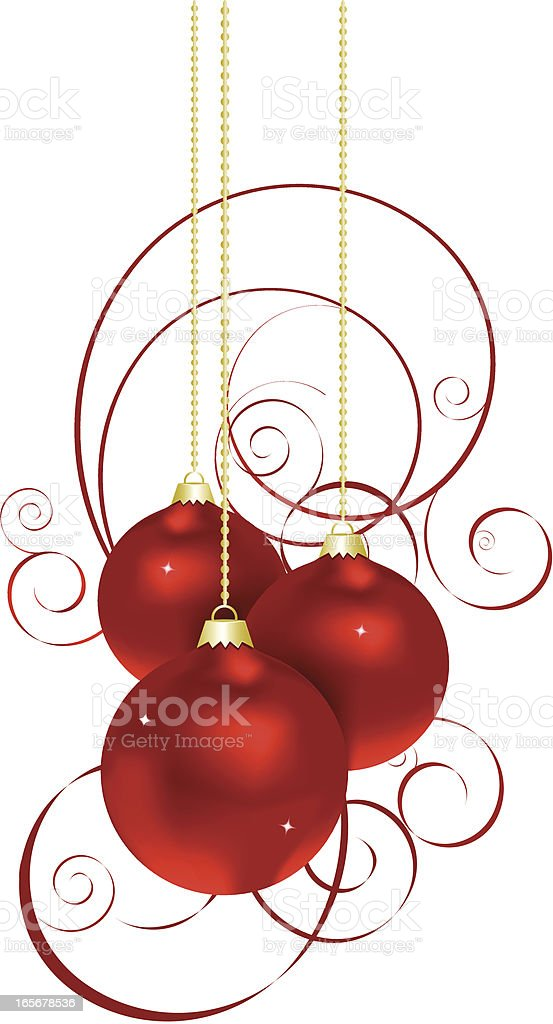 Red Christmas balls dangling from golden chains royalty-free stock vector art