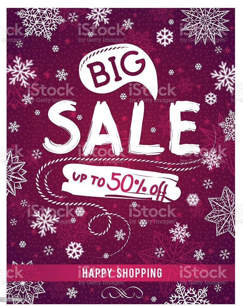 Red Christmas banner with snowflakes and sale offer, vector vector art illustration
