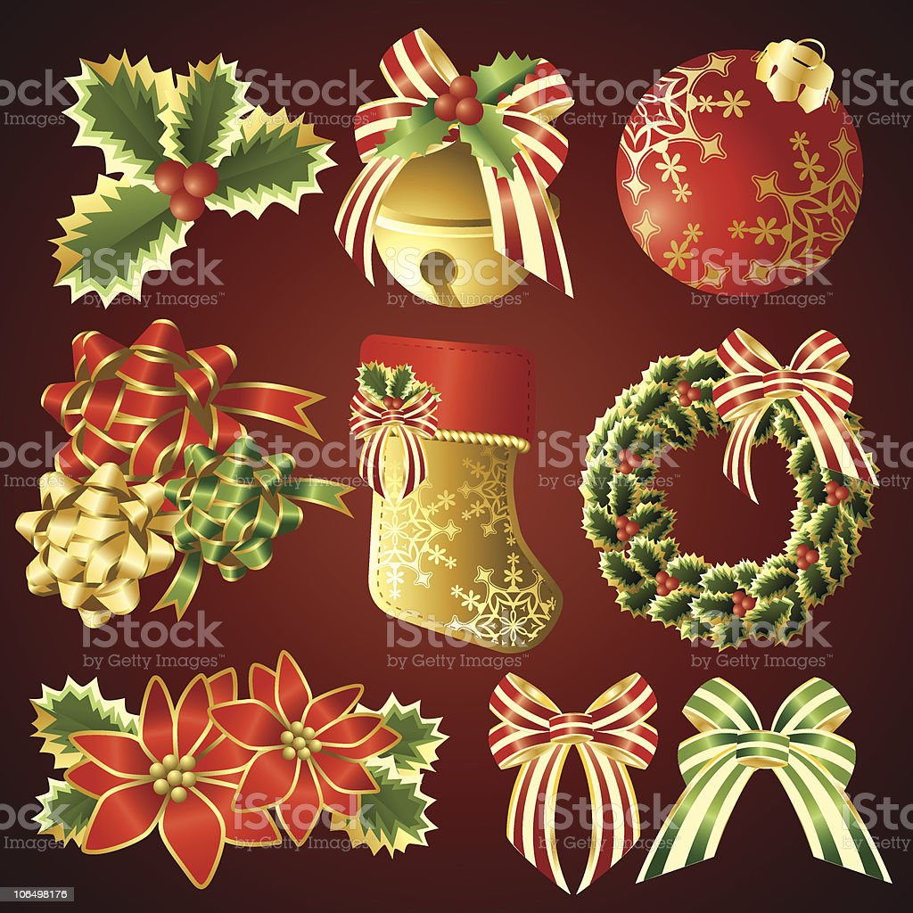 Red Christmas Elements royalty-free stock vector art