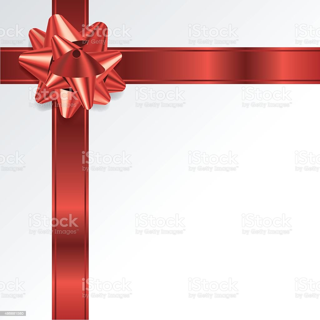 Red Christmas Holiday Bow and Ribbon Background vector art illustration