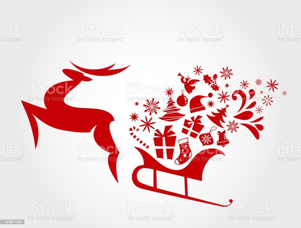 Red Christmas sledge harnessed by magic deer vector art illustration
