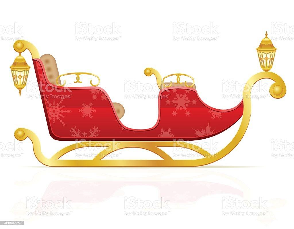 red christmas sleigh of santa claus vector illustration vector art illustration