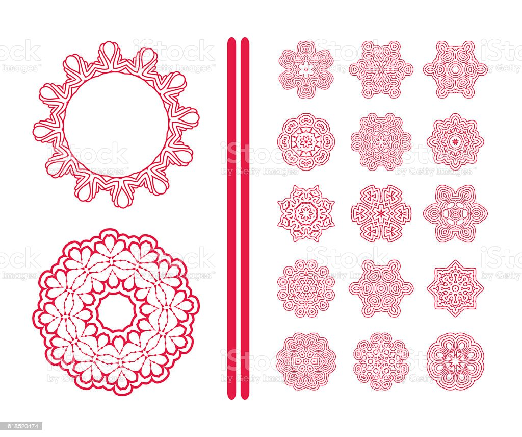 Red  Christmas  snowflakes vector art illustration