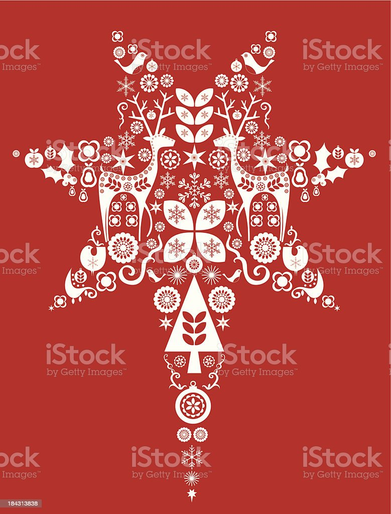 Red Christmas star vector art illustration