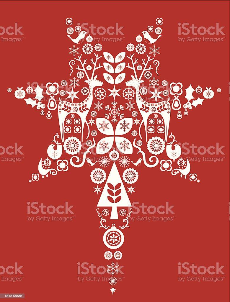 Red Christmas star vector art illustration