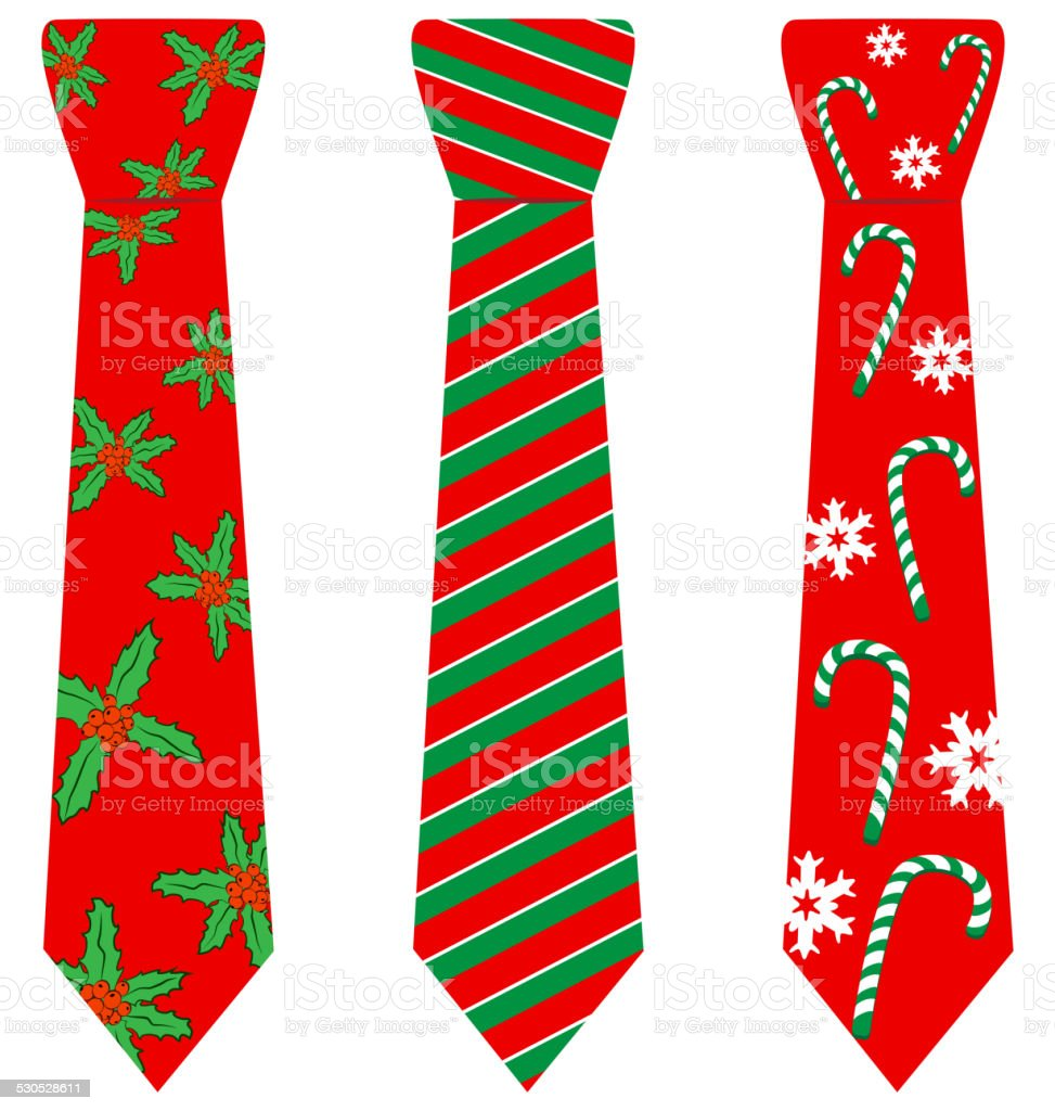 red Christmas ties with print on white vector art illustration