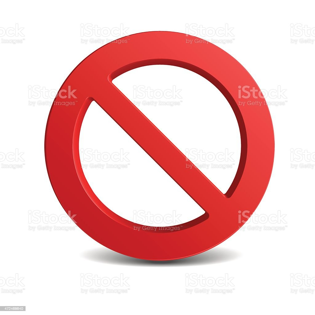 Red circular no sign on a white background vector art illustration