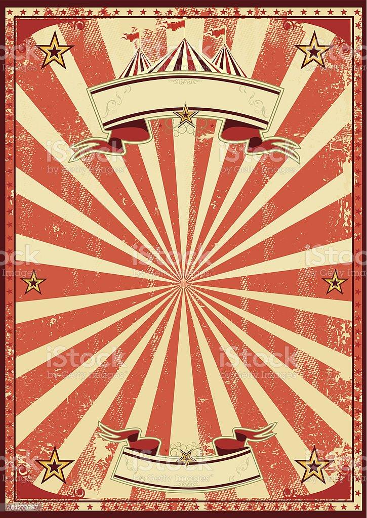 Red circus retro vector art illustration