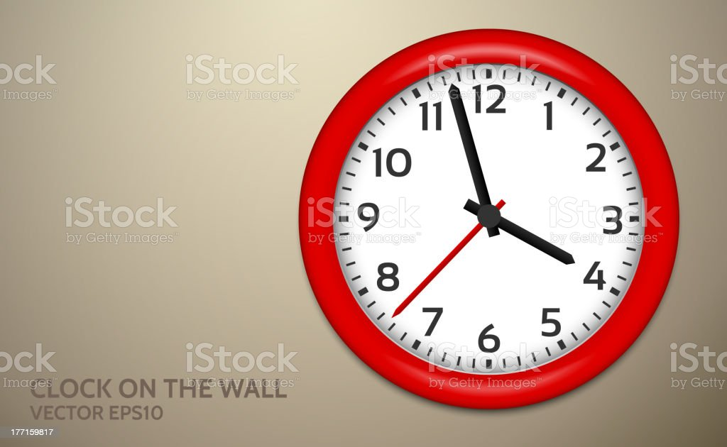 Red Clocks on brown wall royalty-free stock vector art
