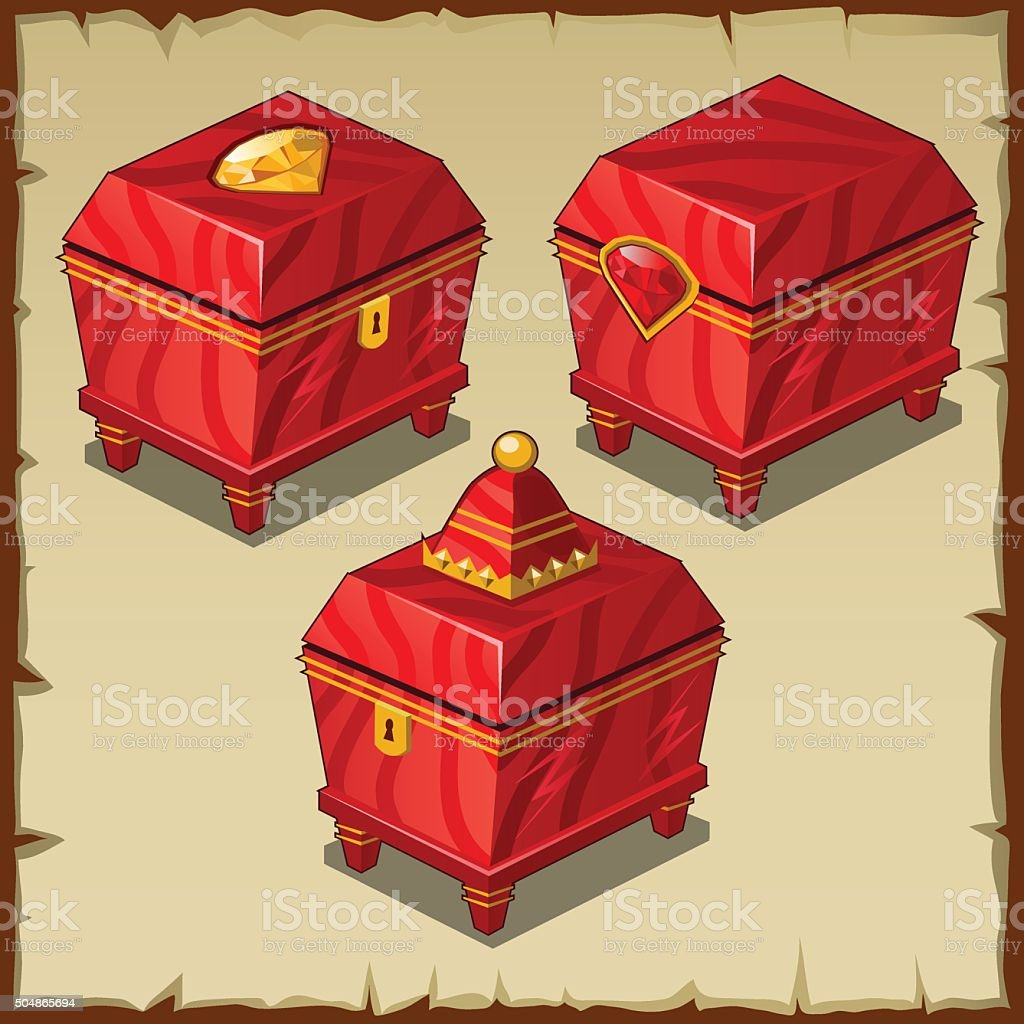 Red closed boxes, three Royal items vector art illustration