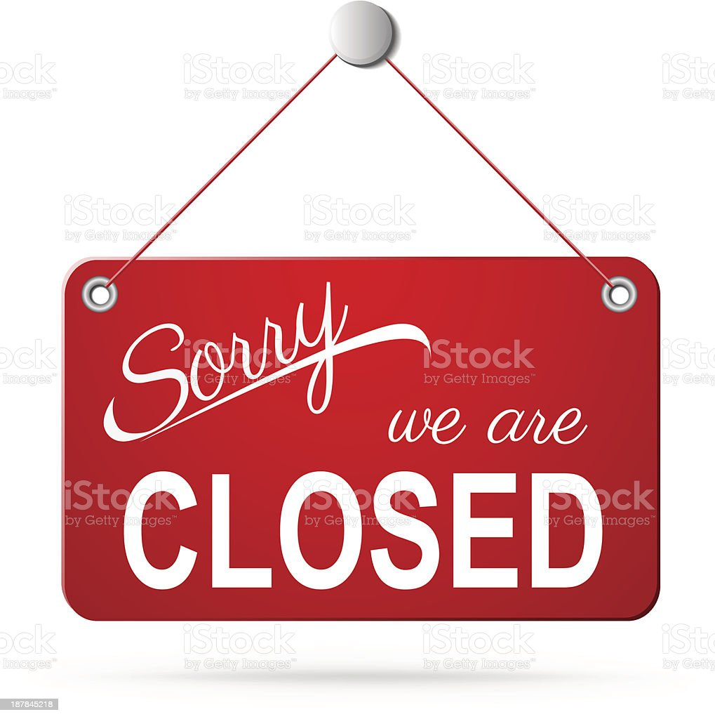 red closed sign on white vector art illustration