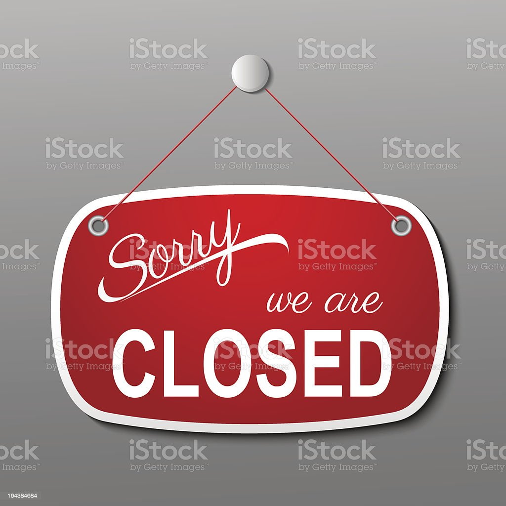 red closed sign royalty-free stock vector art