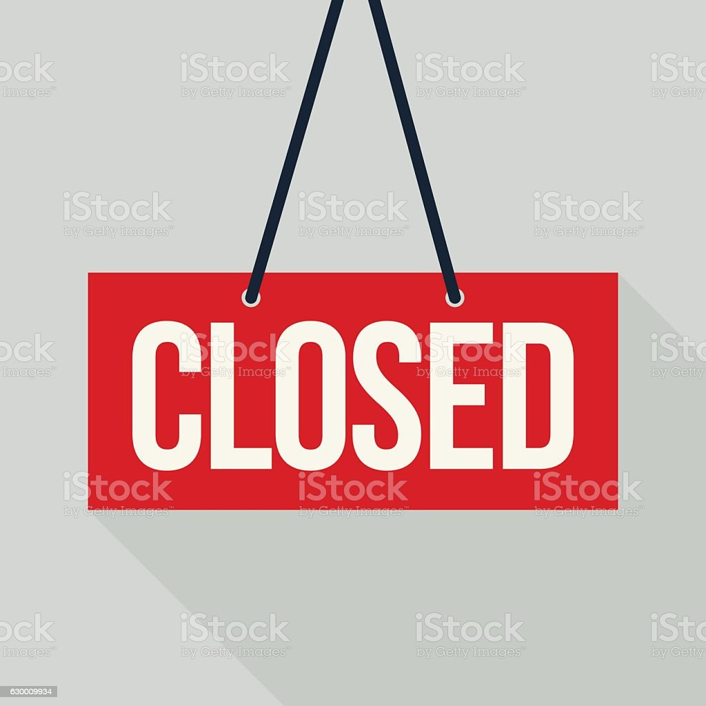 Red closed sign vector art illustration