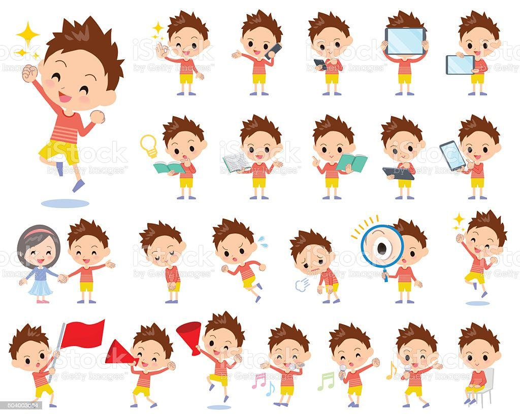 Red clothing short hair boy 2 vector art illustration