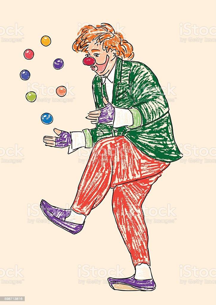 Red clown juggles balls vector art illustration