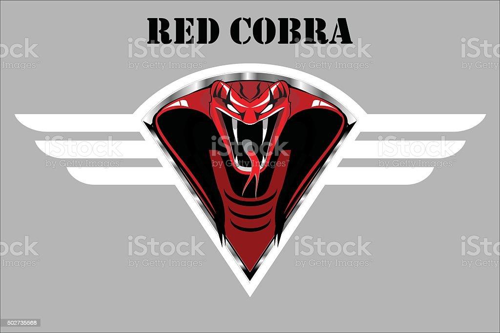 red cobra on the white winged metallic shield. vector art illustration