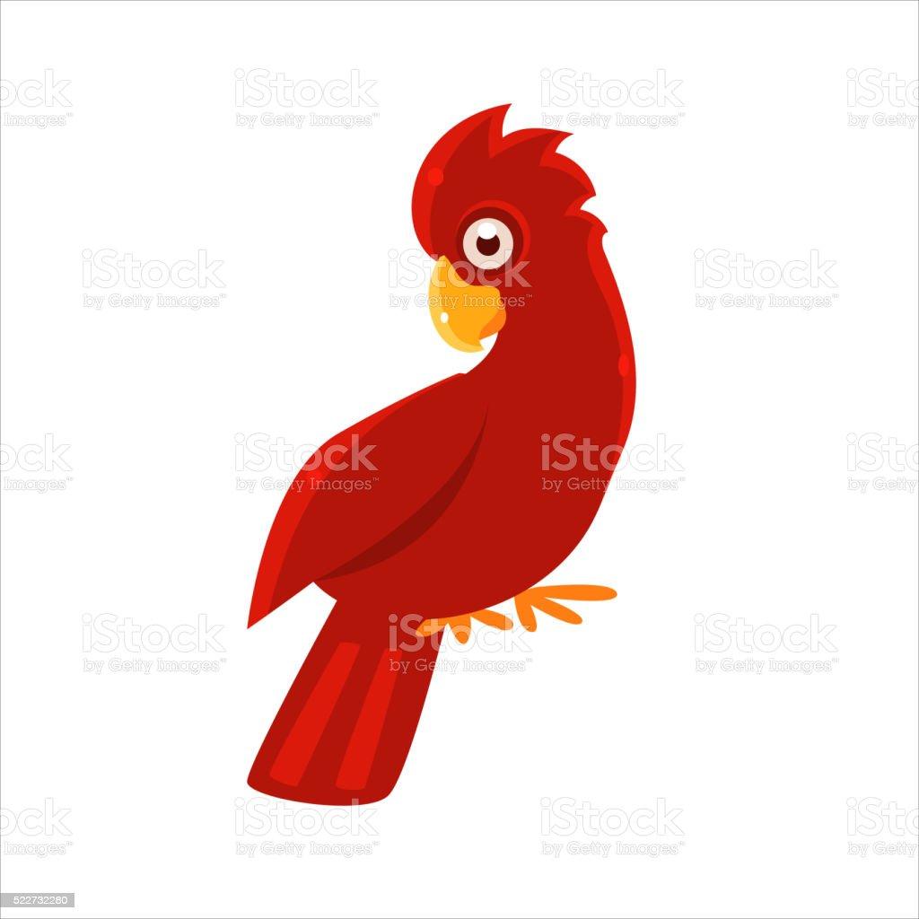 Red Cockatoo Parrot vector art illustration