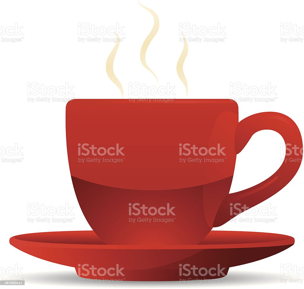 Red Coffee Cup and Saucer vector art illustration