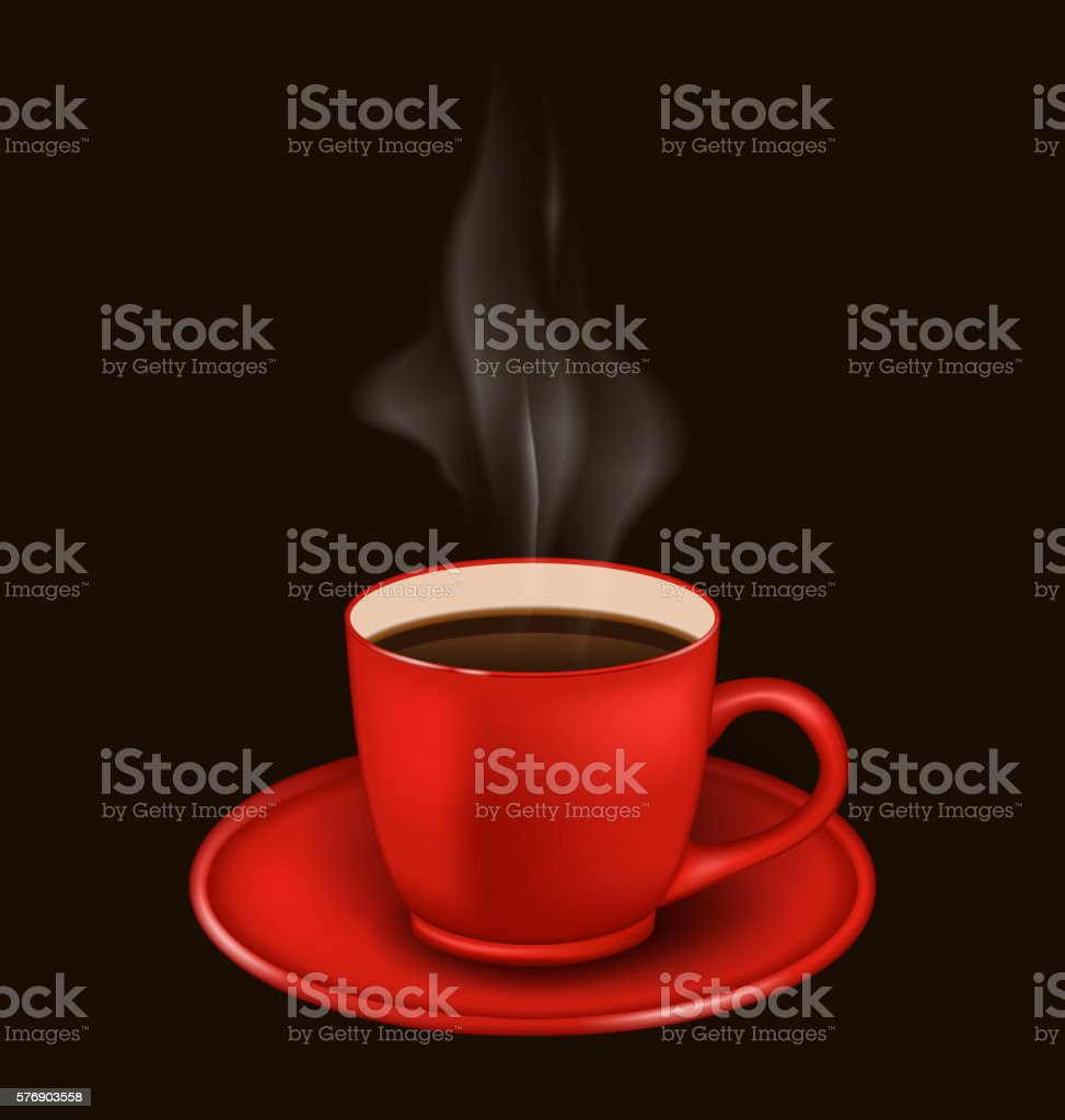 Red coffee mug with vapor vector art illustration