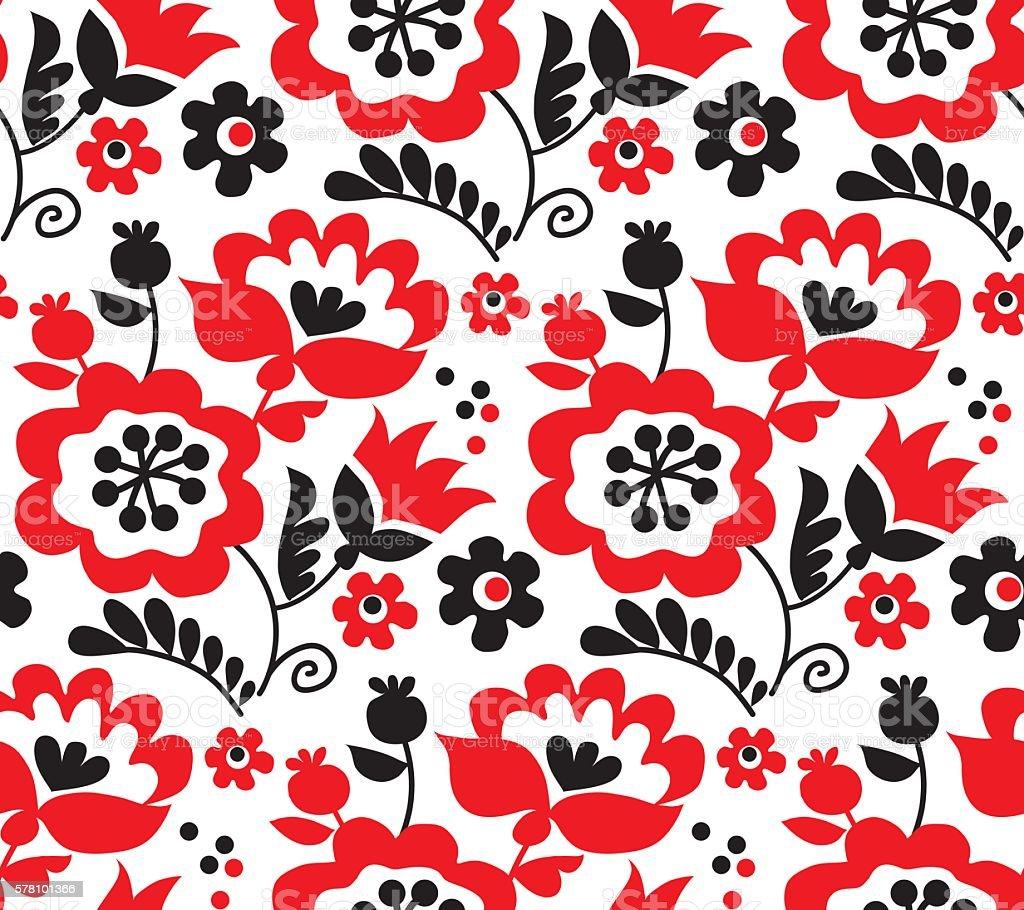 red color traditional european Ukrainian ornament. rustic floral vector art illustration