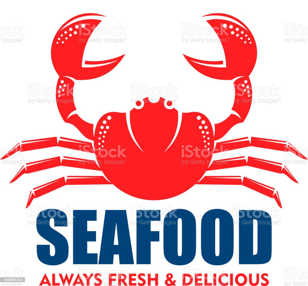 Red crab icon for seafood shop or cafe design vector art illustration
