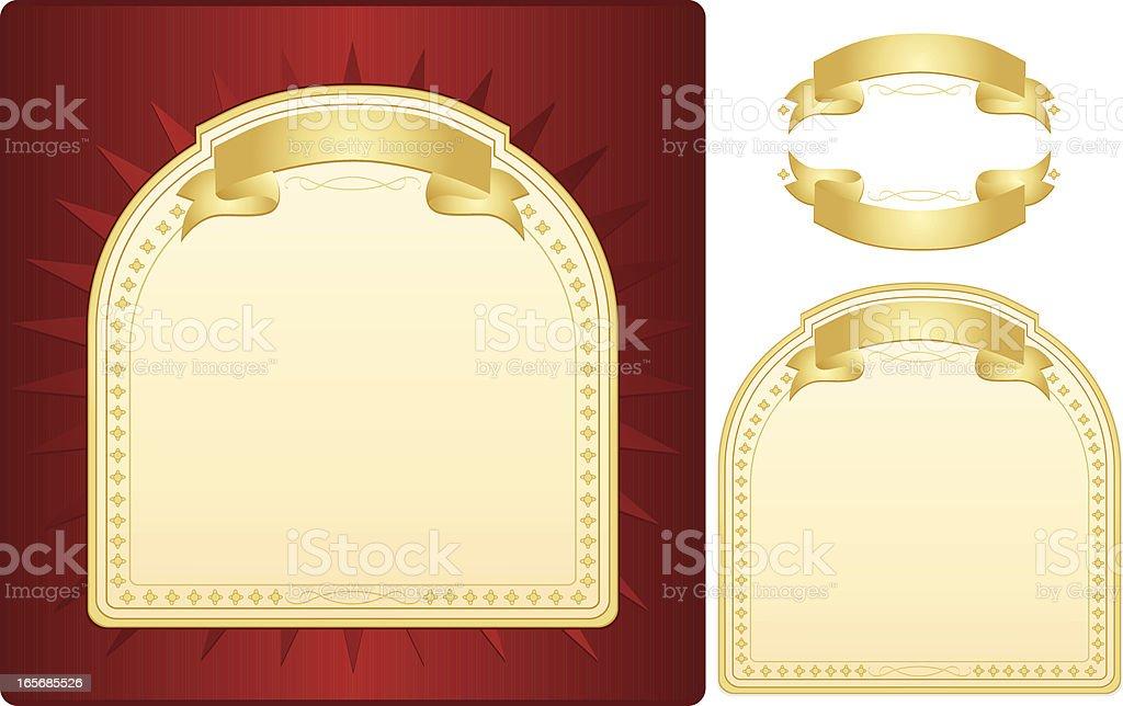 Rot, Cremeweiß Label mit goldenen Bändern-Design Lizenzfreies vektor illustration