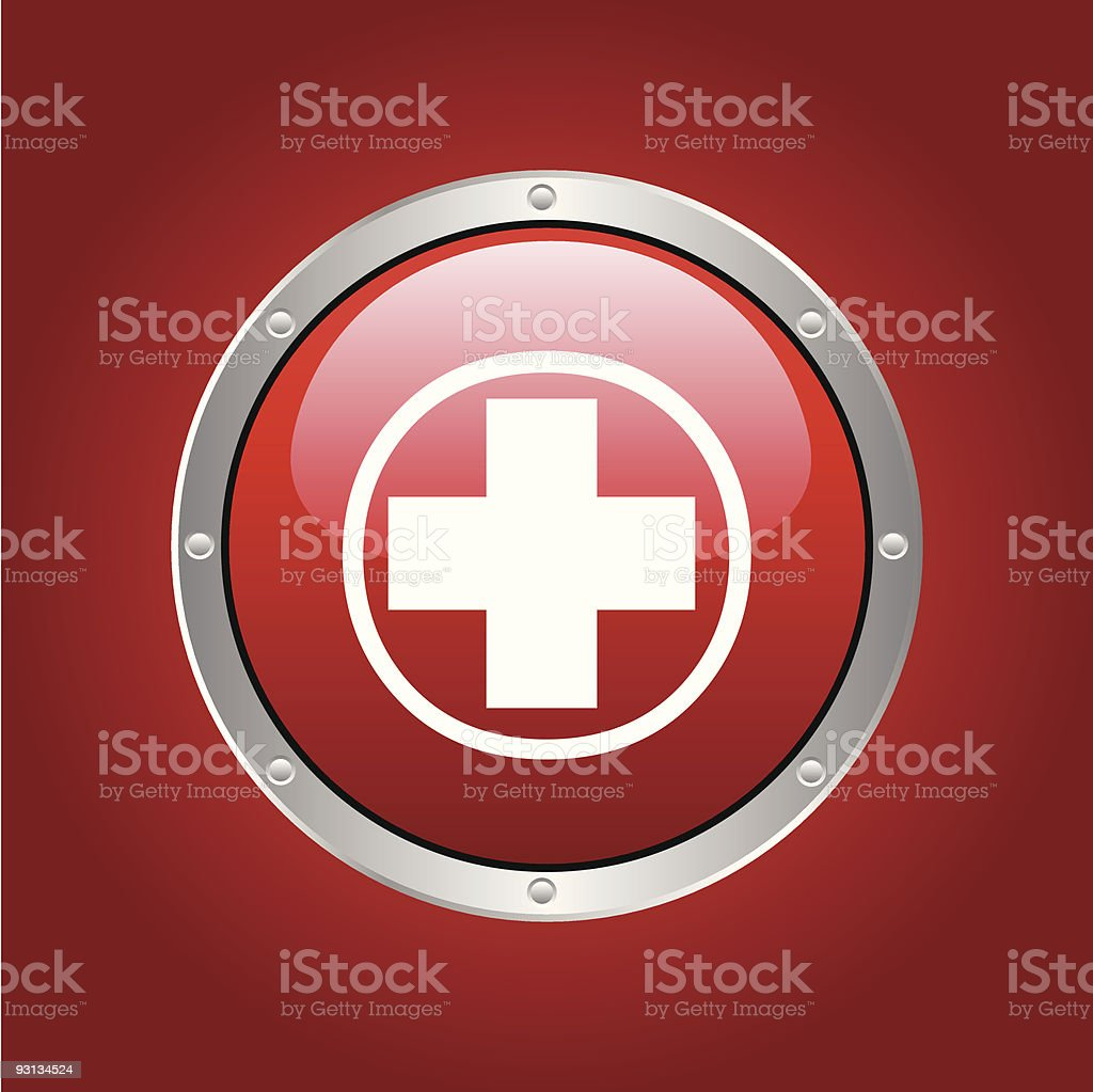 Red cross button on red background royalty-free stock vector art