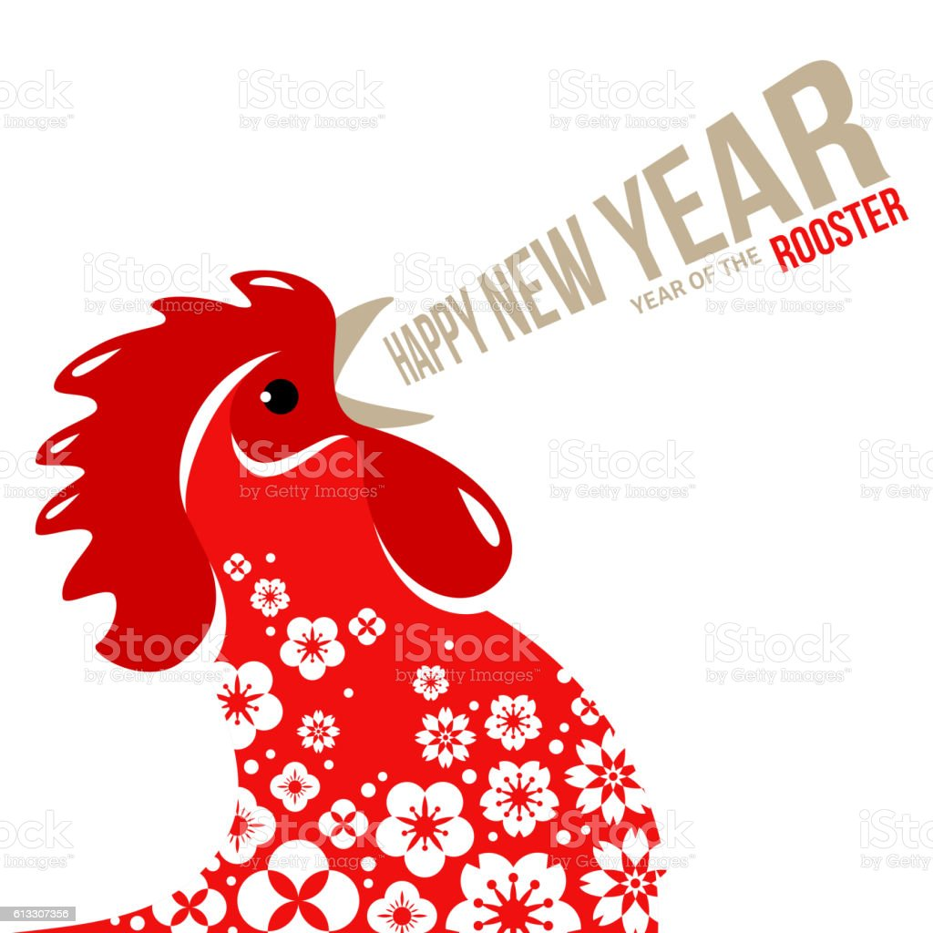 Red Crowing Rooster on White Background vector art illustration