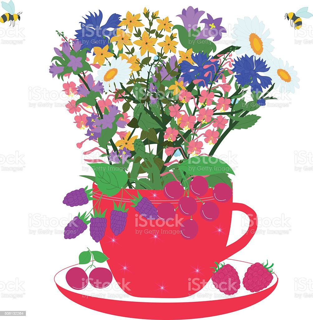Red cup with herbs and berries vector art illustration