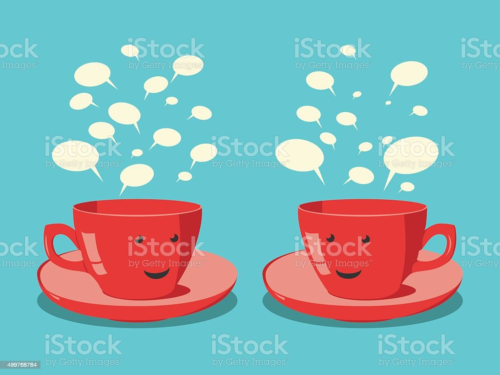 Red cups communicating vector art illustration