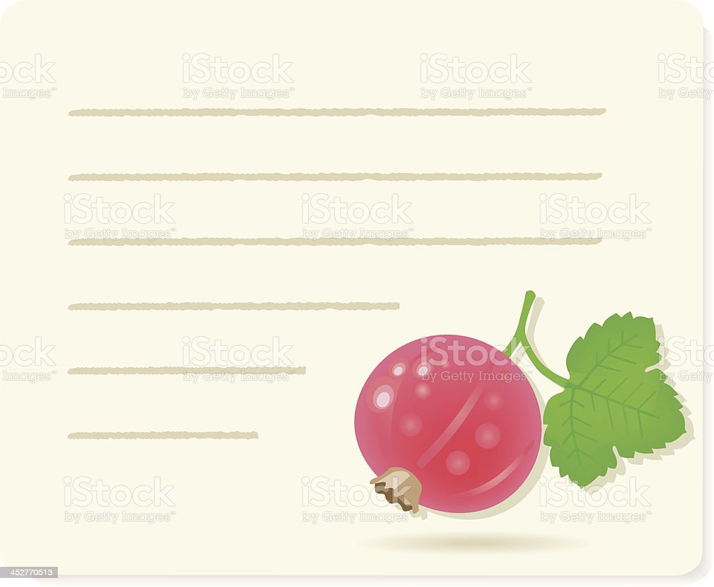 red currant on recipepaper. royalty-free stock vector art