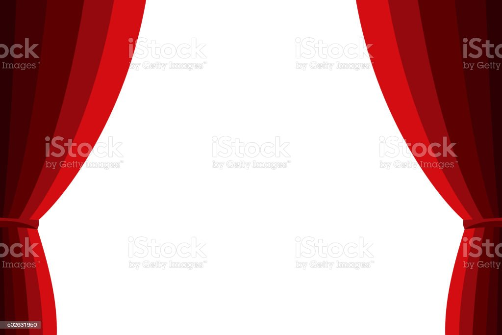 Red curtain opened on a white background. vector art illustration