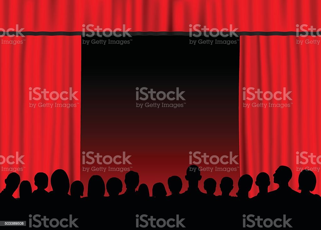 Red Curtain (People Are Complete, Clipping Path Hides the Legs) vector art illustration