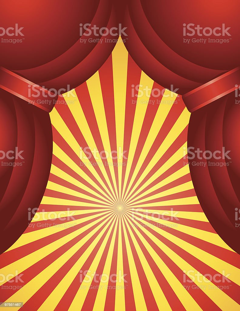 Red Curtain with Starburst royalty-free stock vector art