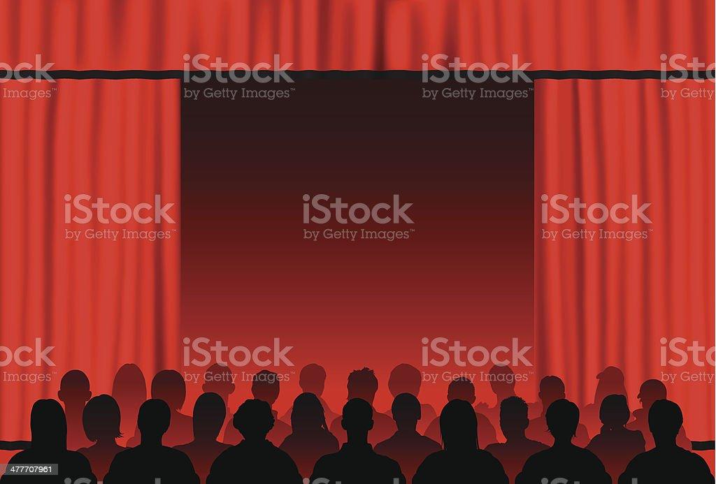 Red Curtains vector art illustration